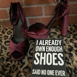 Gianni Bini Velvet Mary Janes Maroon High Heels